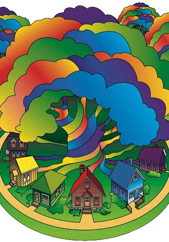 Rainbow houses graphic