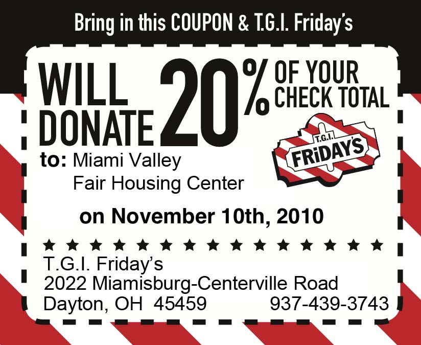 TGI Friday's coupon for MVFHC benefit on 11/10/2010