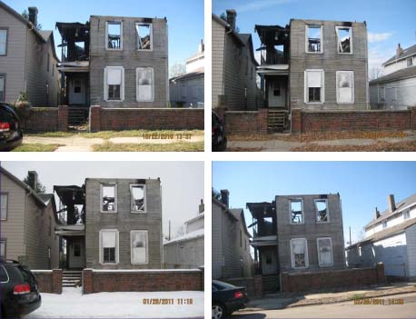 Photos taken months apart showing the unchanging condition of the Wells Fargo-owned property on Deeds Avenue